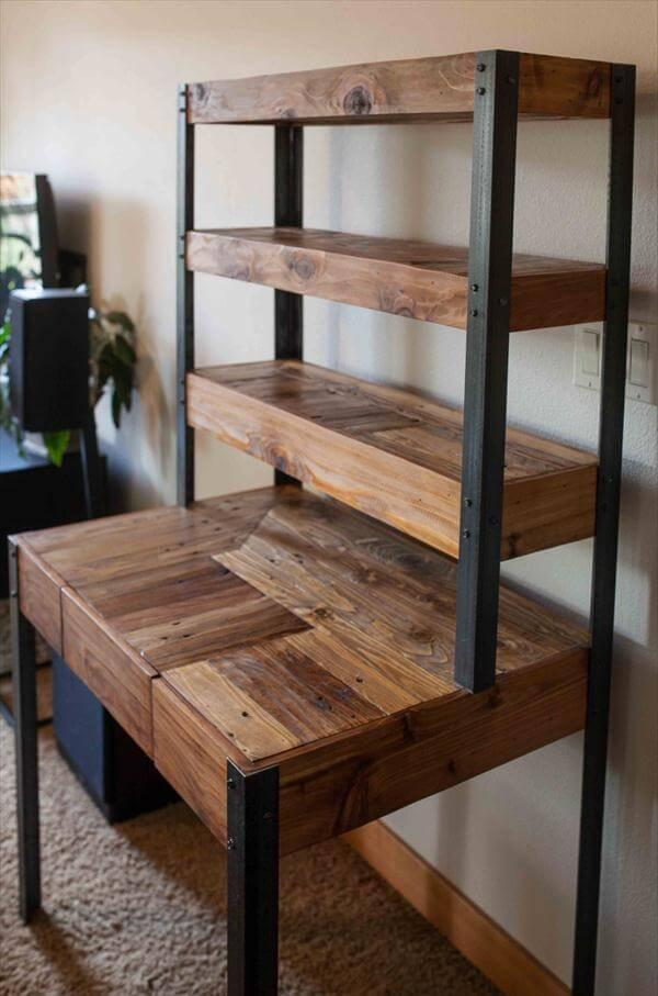 reclaimed pallet and metal desk