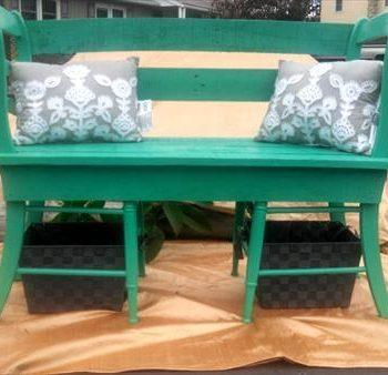 recycled pallet and chairs shabby chic bench