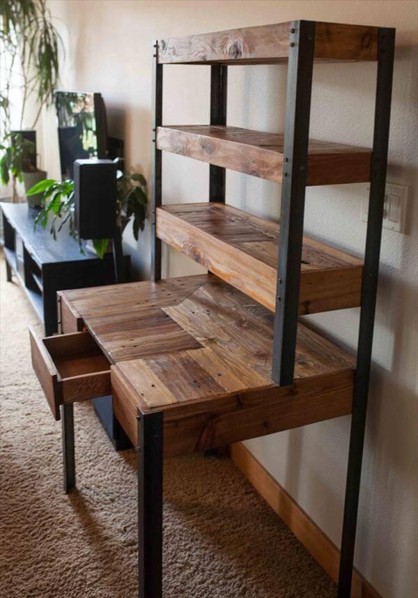handmade pallet and metal desk with drawer and shelving space