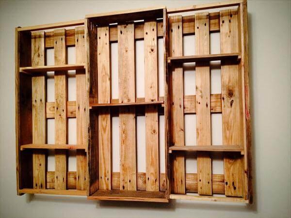 repurposed pallet art style shelving