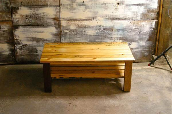 handmade pallet coffee table with lower shelf