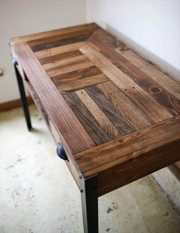 handcrafted pallet industrial desk with storage