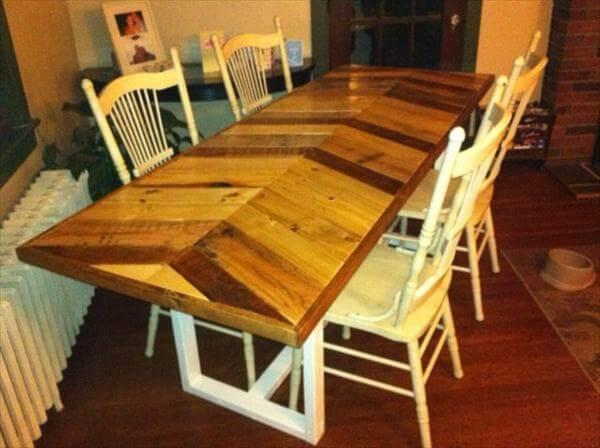 repurposed pallet chevron dining table