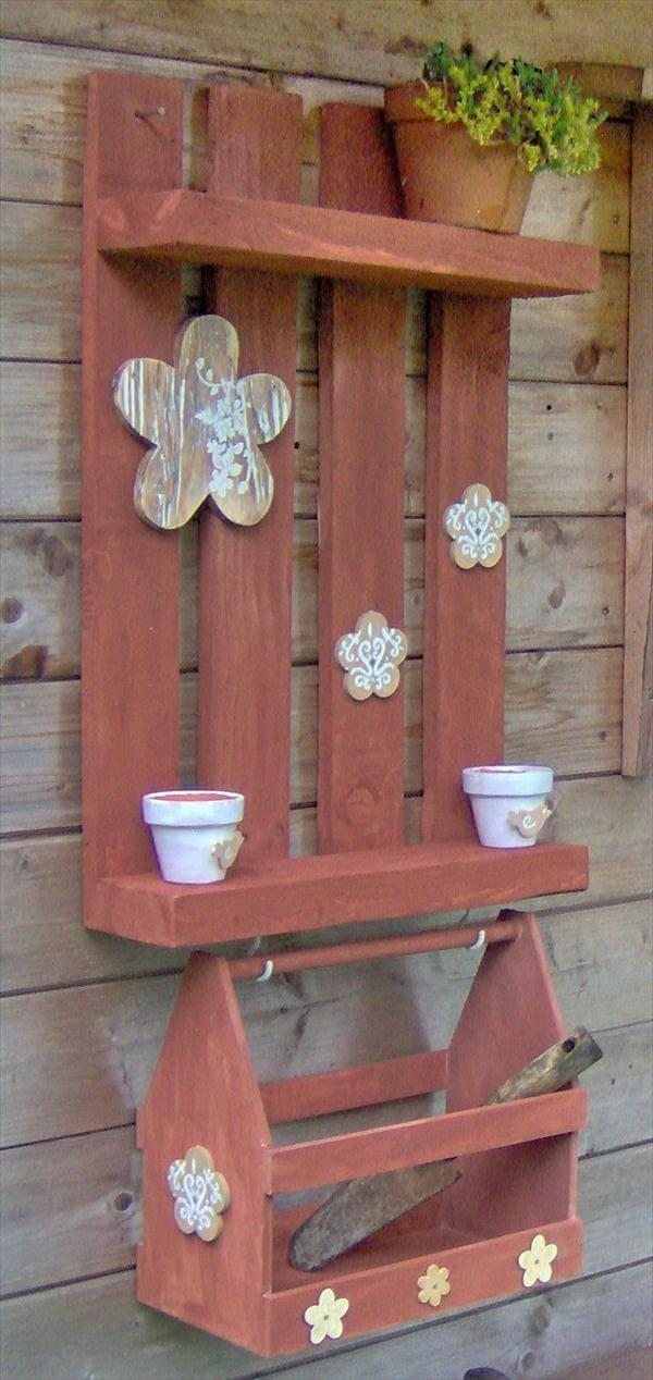 reclaimed pallet garden potting rack with box