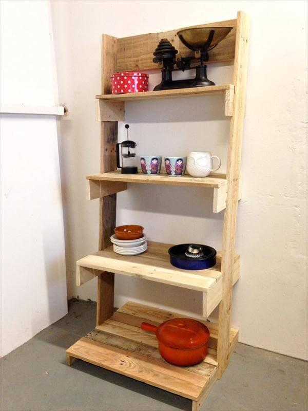 reclaimed pallet ladder shelving