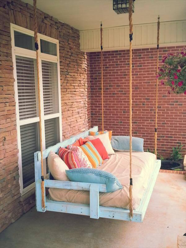reclaimed pallet porch swing with cushion