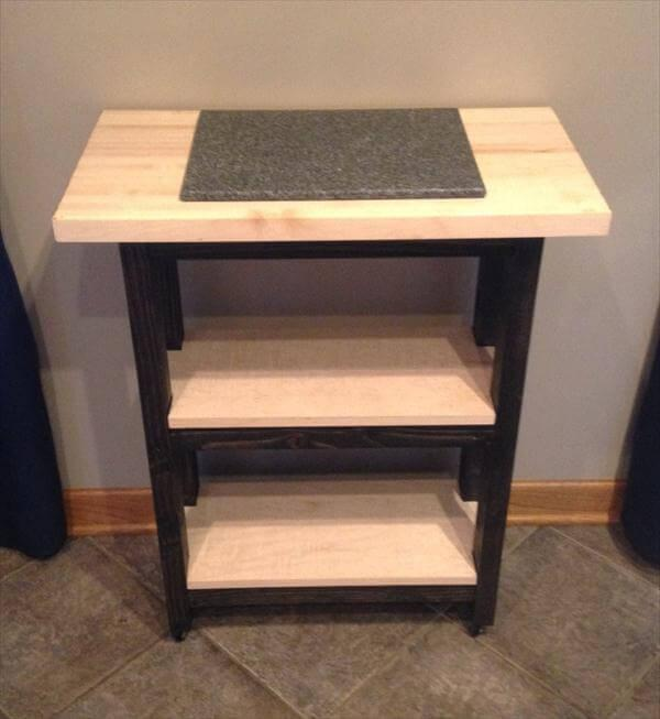 reclaimed p[pallet rolling kitchen island and side table