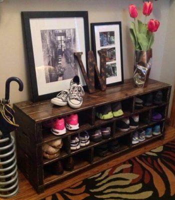 handmade pallet shoes rack
