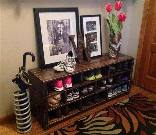 handmade pallet shoes rack