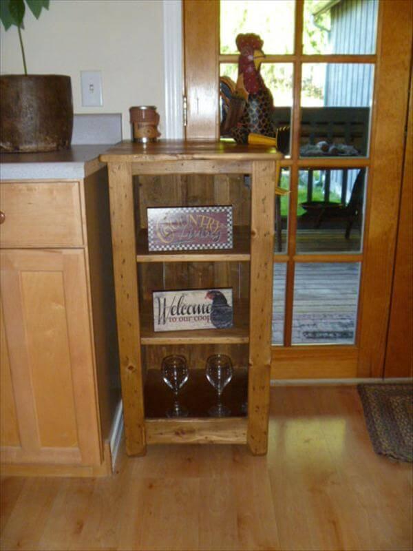 handmade pallet floor cabinet and bathroom storage unit