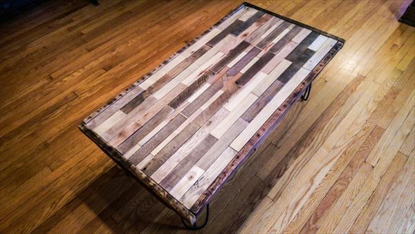 handmade pallet coffee table with hairpin legs