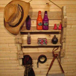 repurposed pallet hanging shelf and coat rack