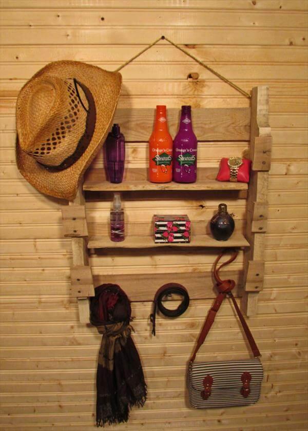 repurposed pallet hanging shelf and coat rack