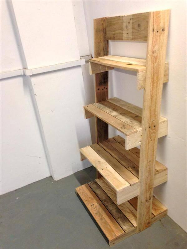 diy pallet ladder shelving