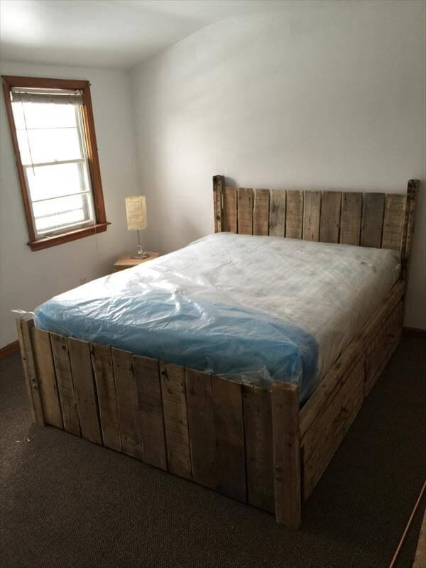 Diy Custom Built Pallet Platform Bed 101 Pallets