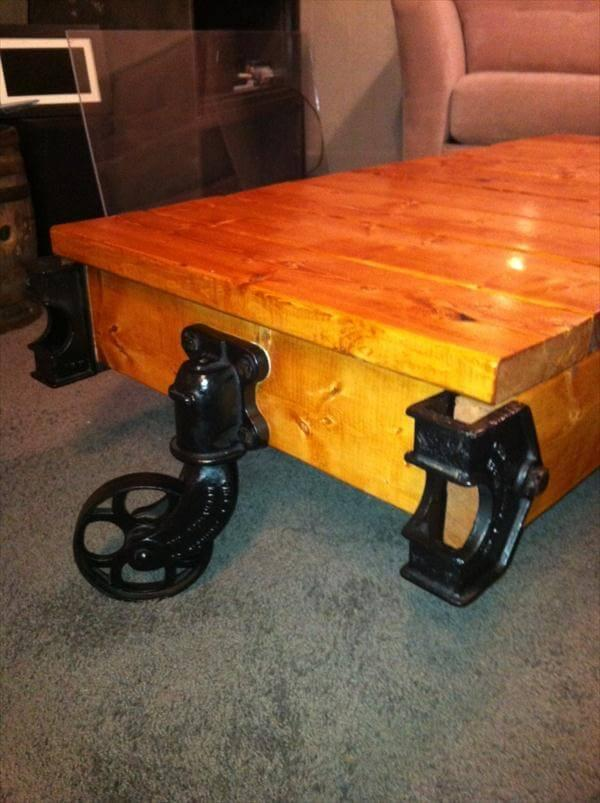 upcycled vintage factory cart coffee table