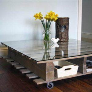 reclaimed pallet coffee table with magazine rack