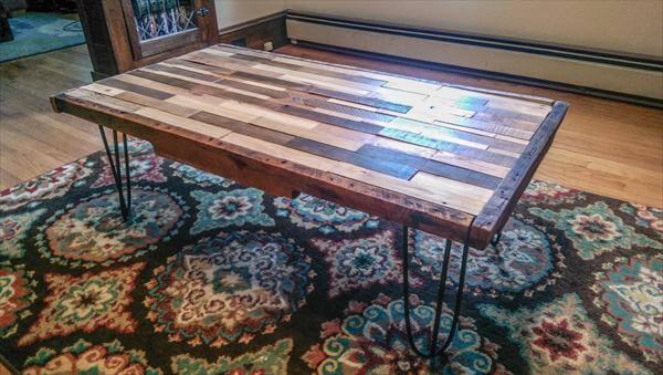 repurposed pallet coffee table with metal hairpin legs