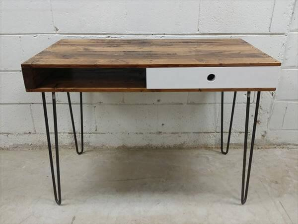 Repurposed Pallet Desk With Drawer And Metal Legs