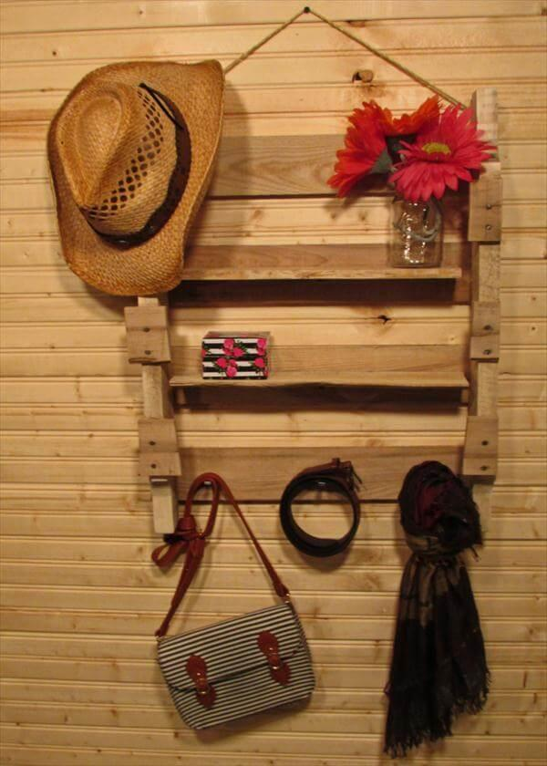 Pallet Wall Hanging Shelf And Coat Rack 101 Pallets