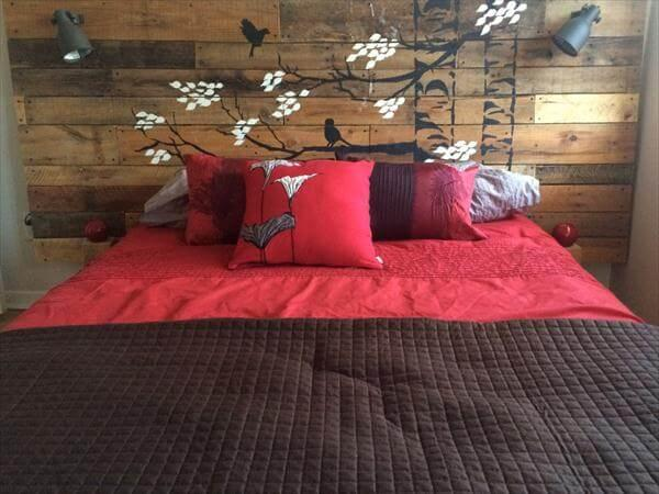 rustic yet modern pallet headboard with lights