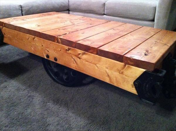 handmade pallet factory cart coffee table