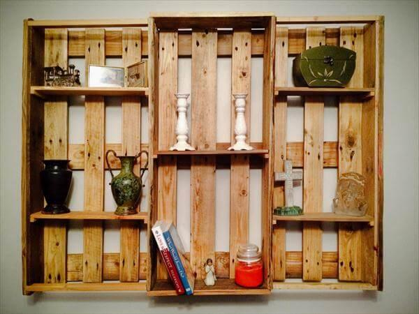handcrafted pallet art style shelving