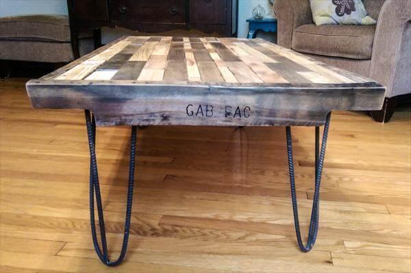 rustic yet modern pallet industrial coffee table