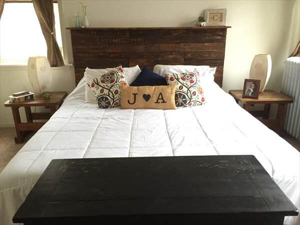 recycled pallet queen headboard