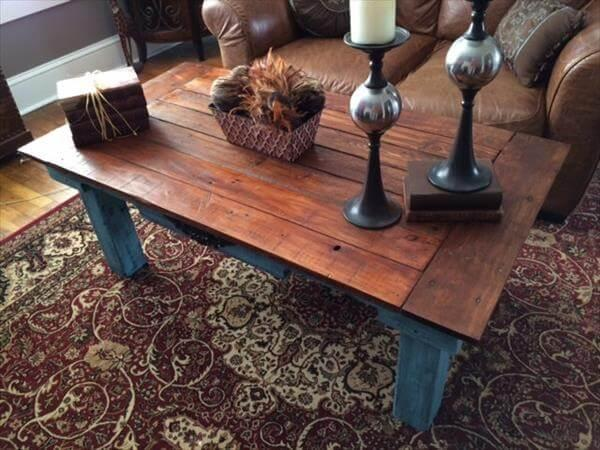 Superieur Recycled Pallet Teal Blue Coffee Table