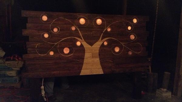 recycled pallet and glass bottles headboard with lights