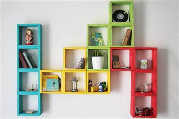 recycled pallet colorful geometrical wall shelving