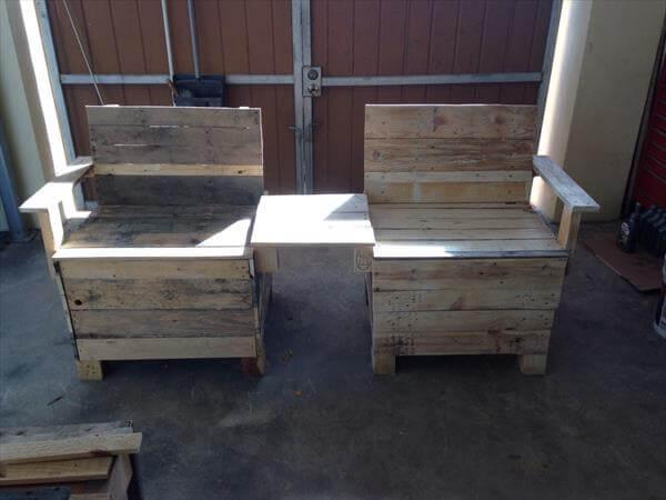 Outstanding Diy Creative Pallet Chair Patio Bench 101 Pallets Customarchery Wood Chair Design Ideas Customarcherynet
