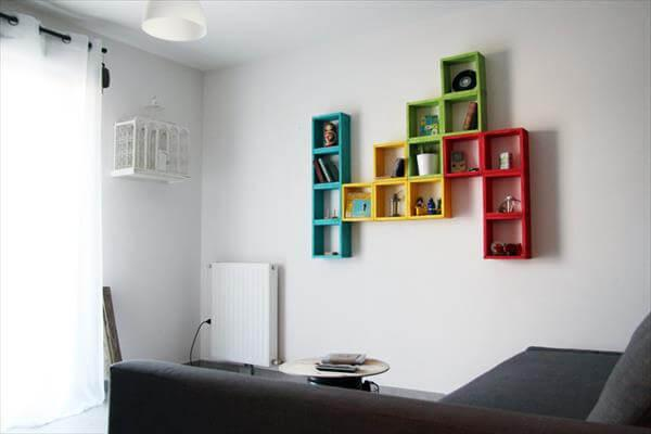 reclaimed pallet colorful wall shelving