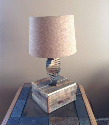 upcycled pallet spiral lamp