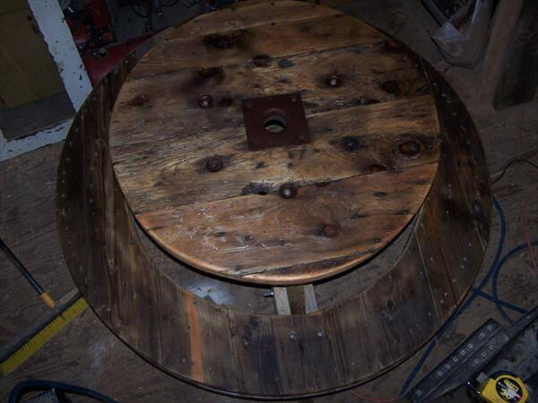 recycled pallet and cable spool picnic table