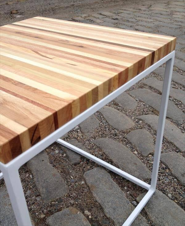 recycled pallet and steel side table