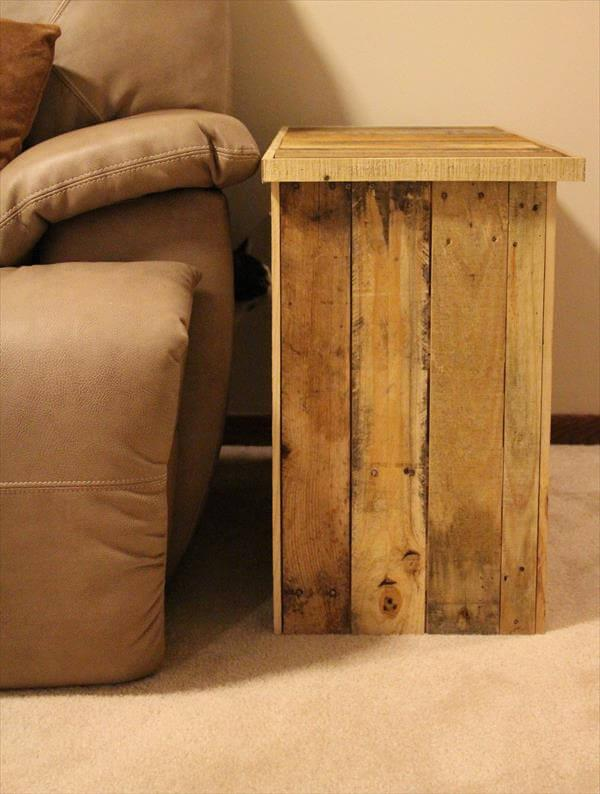 recycled pallet side table with storage