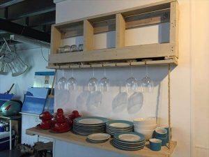 Pallet Glass Rack with Added Bottom Shelf