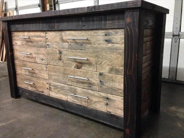 recycled pallet furniture chest of drawers 101 pallets. Black Bedroom Furniture Sets. Home Design Ideas