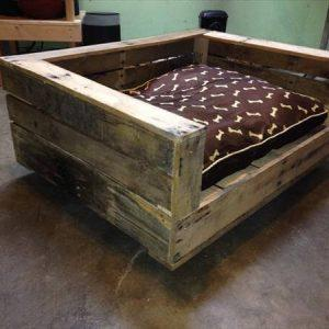 reclaimed pallet dog bed with cushion
