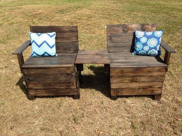 DIY Creative Pallet Chair / Patio Bench – 101 Pallets