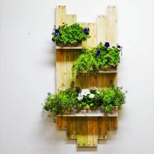 repurposed pallet hanging planter shelf