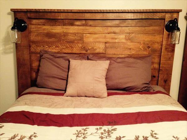 upcycled pallet headboard with scones lights