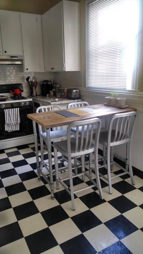 rustic yet modern pallet dining table with pipe legs