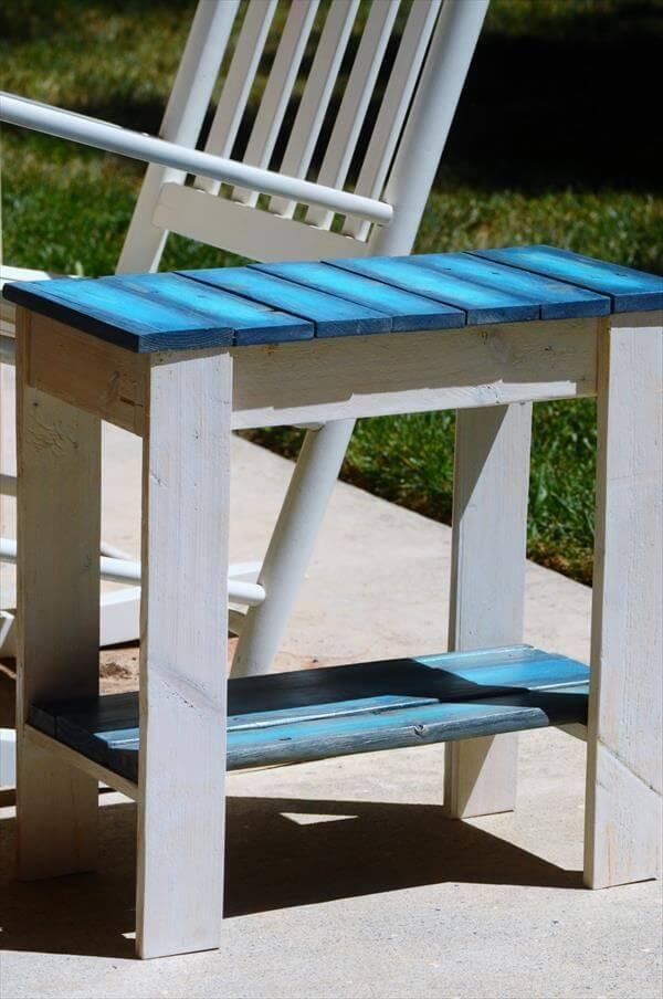 Diy Pallet Aqua Blue And White Side Table 101 Pallets