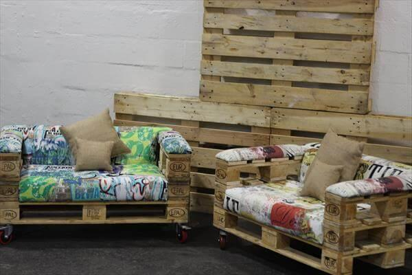 upcycled pallet rolling seats with cushion