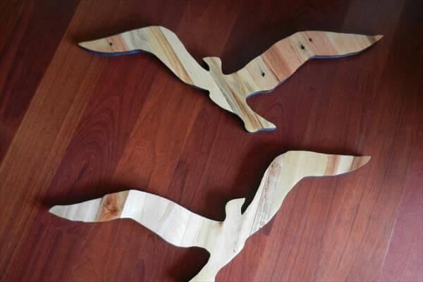 handcrafted pallet seagulls wall art