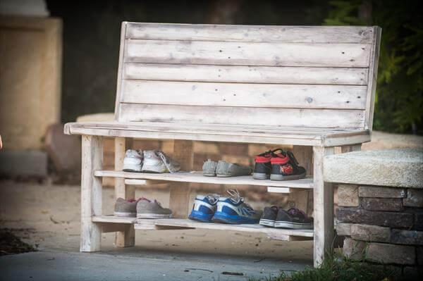 reclaimed pallet shoes rack bench