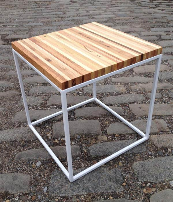 repurposed pallet and steel side table